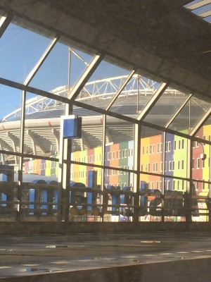 A poor attempt to capture the exterior of the Ajax Amsterdam football stadium. Taken while in the train to Maastricht.
