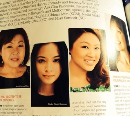 "Kimberly Chan, third from right, being featured in a magazine on her role in ""Women of Asia""."