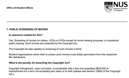 Clarifying Film Screening Regulations in NUS